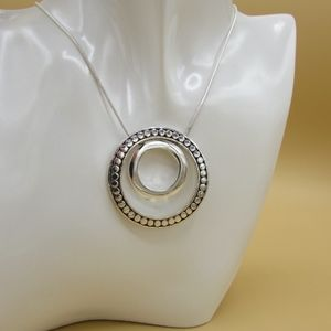 Talbots Silvertone Double Circle Necklace